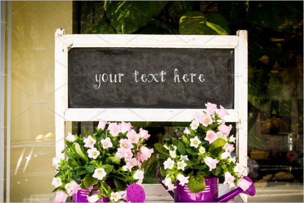 Flower Shop Chalkboard Mockup Template