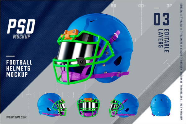 Football Helmets Mockup Template