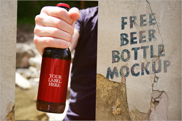 Free Beer Bottle Mockup Design