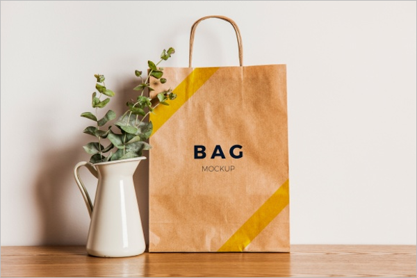 Free Brown Paper Bag Mockup Design