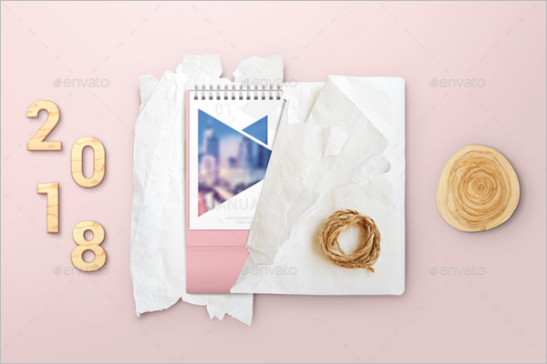 Gift Packing Desk Calendar Mockup