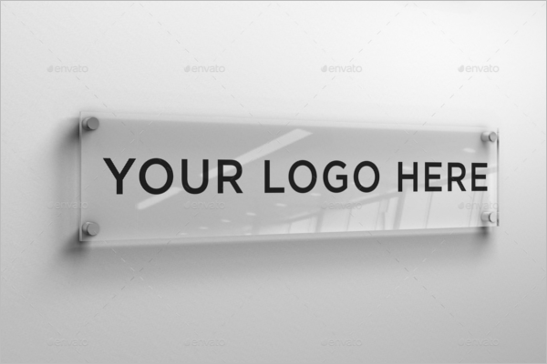 Glass Plate Logo Wall Mockup