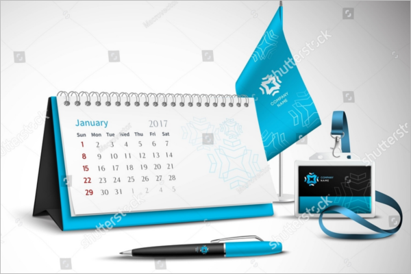 Graphical Desk Calendar Mockup Design