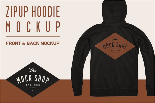 Hoodie Zip Up Mockup Design