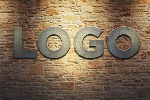 Metal Wall Logo Mockup