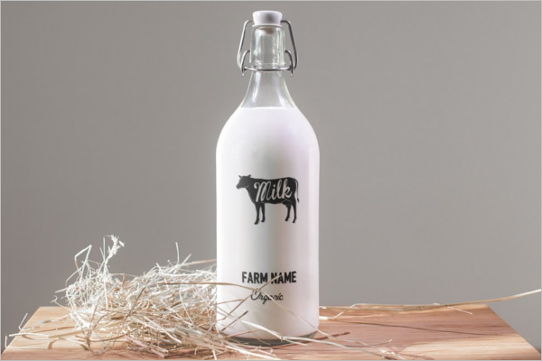Milk Bottle Mockup Template