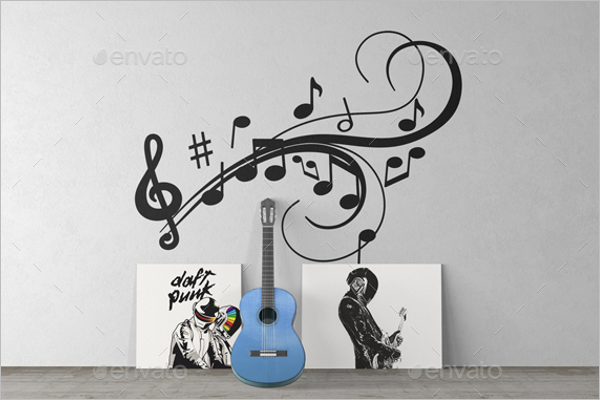 Music Background Wall Art Mockup Template