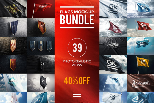 PSD Flag Mockup Bundle