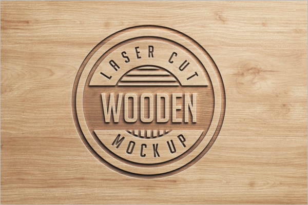 PSD Logo For Wood Mockup