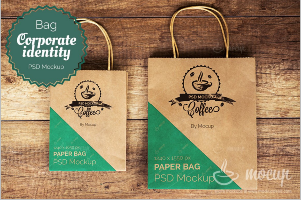 Photorealistic Paper Bag Mockup Template