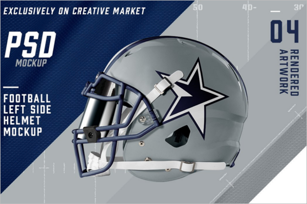 Simple Football Helmet Mockup