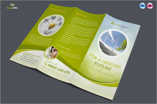Trifold Green Brochure PSD Template