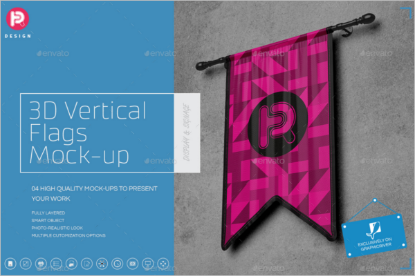Vertical Flags Mockup Set