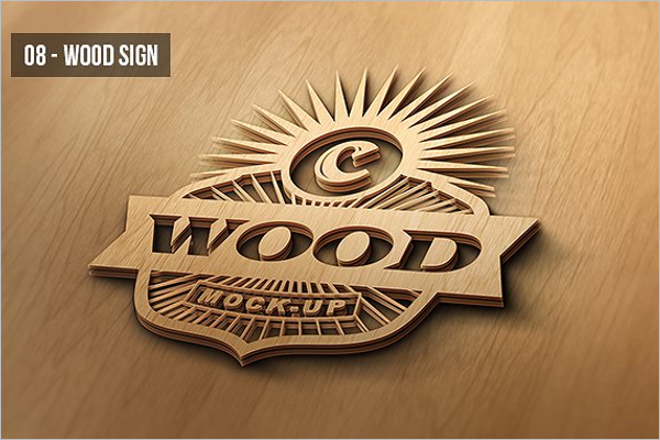 Wall Sign Wood Mockup Design