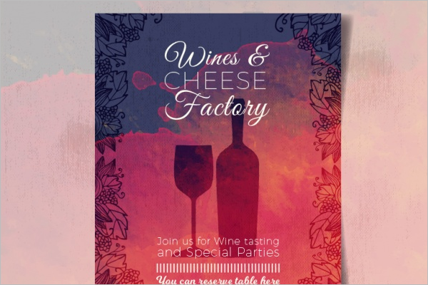 Watercolor Wine Brochure