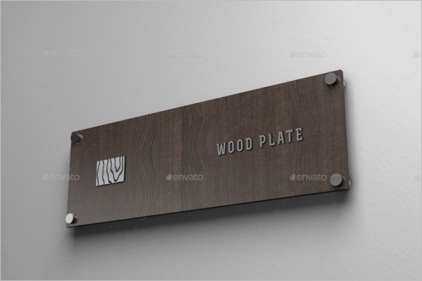 Wood Plate Wall Logo Mockup